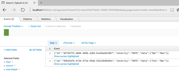 Screen shot of JSON objects in Splunk Enterprise search