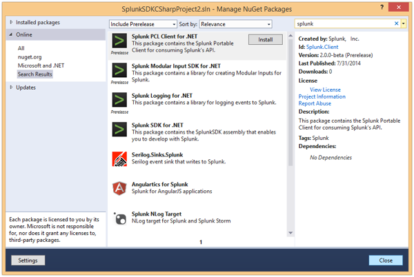 Manage NuGet Packages window popup